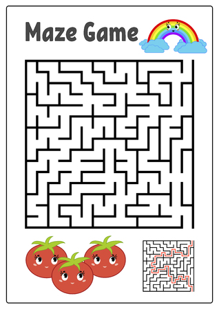 Abstract square maze. Kids worksheets. Activity page. Game puzzle for children. Cute cartoon tomato and rainbow. Labyrinth conundrum. Vector illustration. With answer.