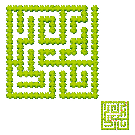 Abstract square labyrinth - green garden. Game for kids. Puzzle for children. One entrance, one exit. Labyrinth conundrum. Vector illustration. With answer. Illustration