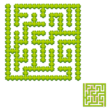 Abstract square labyrinth - green garden. Game for kids. Puzzle for children. One entrance, one exit. Labyrinth conundrum. Vector illustration. With answer. Ilustração