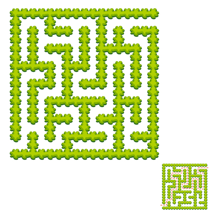 Abstract square labyrinth - green garden. Game for kids. Puzzle for children. One entrance, one exit. Labyrinth conundrum. Vector illustration. With answer. Çizim