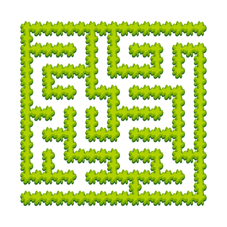 Abstract square labyrinth - green garden, shrubs. Game for kids. Puzzle for children. One entrance, one exit. Labyrinth conundrum. Vector illustration.