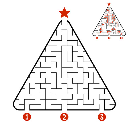Abstract triangle labyrinth. Game for kids. Puzzle for children. Find the right path to the star. Labyrinth conundrum. Vector illustration isolated on white background. With answer. Christmas tree.