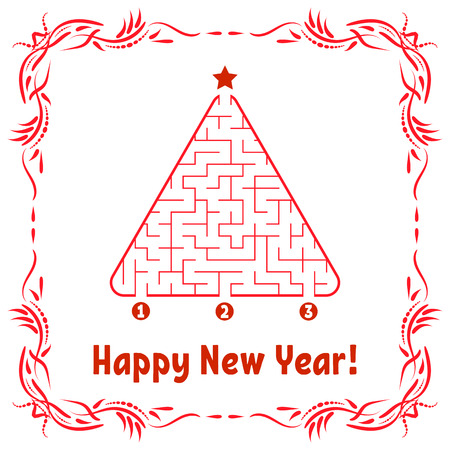 New Year greeting card with a triangular labyrinth. Find the right path to the star. Game for kids. Christmas tree. Maze conundrum. Vector illustration. With frame in vintage style. Vectores