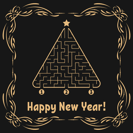 New Year greeting card with a triangular labyrinth. Find the right path to the star. Game for kids. Christmas tree. Maze conundrum. Vector illustration. With frame in vintage style. Illustration