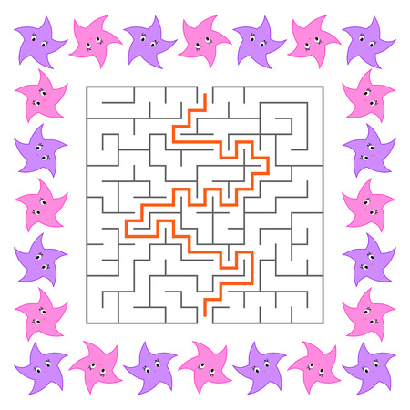 Abstract square maze. Game for kids. Puzzle for children. Cute cartoon star. Labyrinth conundrum. Vector illustration. With answer.