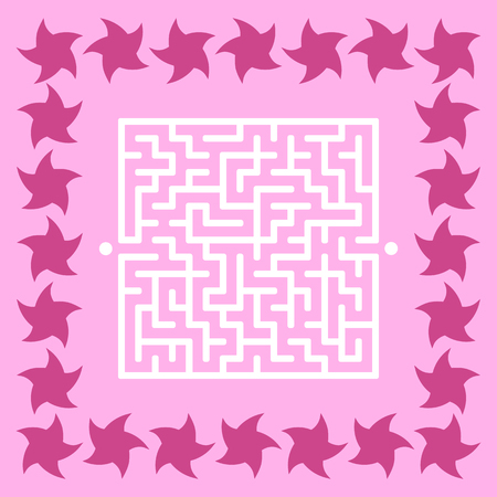 Abstract square maze. Game for kids. Puzzle for children. Cute star. Labyrinth conundrum. Vector illustration. Ilustração