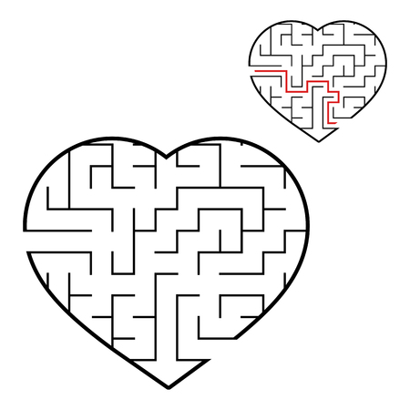 Abstract maze heart. Valentine day. Game for kids. Puzzle for children. One entrance, one exit. Labyrinth conundrum. Flat vector illustration isolated on white background. With answer Illustration