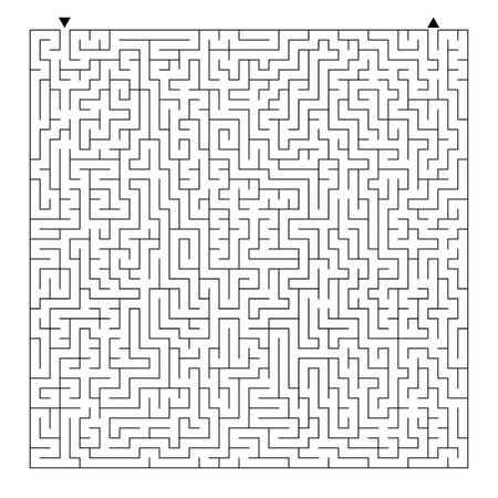 Abstract square maze. Game for kids. Puzzle for children and adult. One entrance, one exit. Labyrinth conundrum. Flat vector illustration isolated on white background Vetores