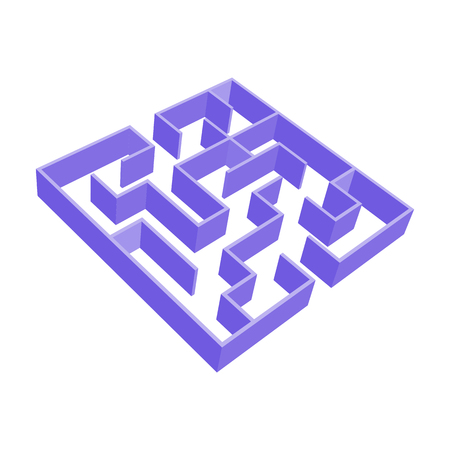 Abstract colored square maze. 3D surround style. Game for kids. Puzzle for children. One entrance, one exit. Labyrinth conundrum. Vector illustration