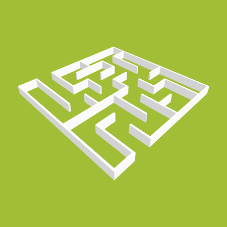 Abstract white square maze. 3D surround style. Game for kids. Puzzle for children. One entrance, one exit. Labyrinth conundrum. Vector illustration