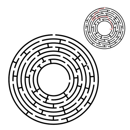 Abstract round maze. Game for kids. Puzzle for children. One entrance, one exit. Labyrinth conundrum. Flat vector illustration isolated on white background. With answer. With place for your image Illustration