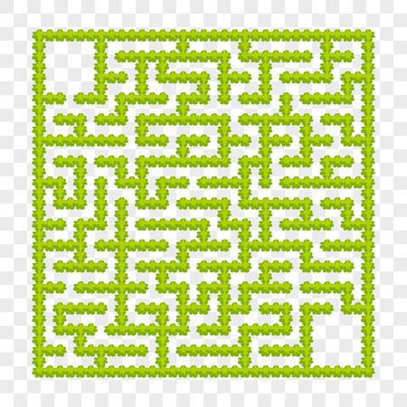 Square labyrinth of garden bushes. Game for kids. Puzzle for children. One entrance, one exit. Labyrinth conundrum. Flat vector illustration. On a transparent background. With place for your image Illustration