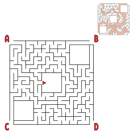 Abstract square maze. Game for kids. Puzzle for children. Four entrances, one exit. Labyrinth conundrum. Flat vector illustration isolated on white background. With answer. With place for your image