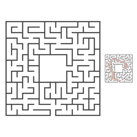 Abstract square maze. Game for kids. Puzzle for children. Labyrinth conundrum. Flat vector illustration. With answer. With place for your image. Find the right path