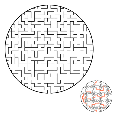 Difficult round labyrinth. Game for kids. Puzzle for children. One entrance, one exit. Labyrinth conundrum. Flat vector illustration isolated on white background. With answer