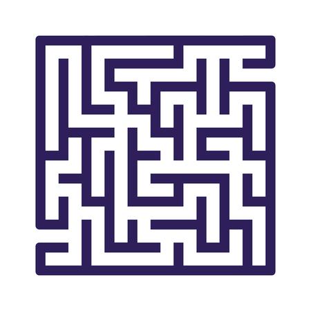 Abstraktes quadratisches Labyrinth. Spiel für Kinder. Puzzle für Kinder. Ein Eingang, ein Ausgang. Rätsel des Labyrinths. Flache Vektorillustration lokalisiert auf weißem Hintergrund.