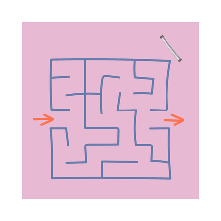 Square maze. Game for kids. Puzzle for children. Easy level of difficulty. Hand drawing. Labyrinth conundrum. Flat vector illustration isolated on sticker