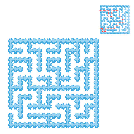 Icy blue square maze. Game for kids. Puzzle for children. Easy level of difficulty. Labyrinth conundrum. Flat vector illustration isolated on transparent background. With the answer