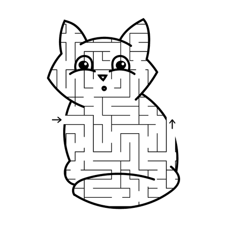 Maze cute kitty. Game for kids. Puzzle for children. Cartoon style. Labyrinth conundrum. Black white vector illustration