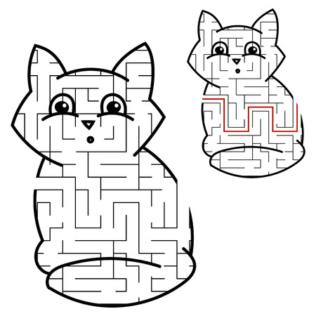 Maze cute kitty. Game for kids. Puzzle for children. Cartoon style. Labyrinth conundrum. Black white vector illustration. With the answer Ilustração