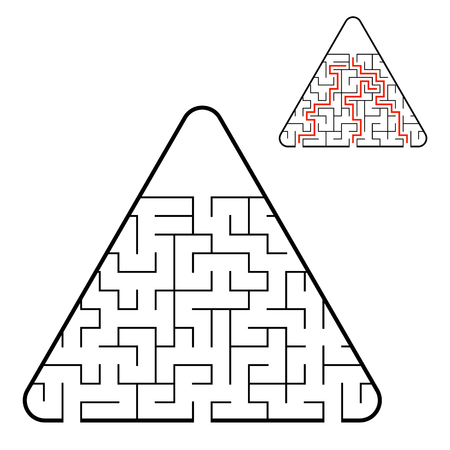 Abstract triangular labyrinth. Find the right path. Game for kids. Puzzle for children. Labyrinth conundrum. Flat vector illustration isolated on white background. With the answer