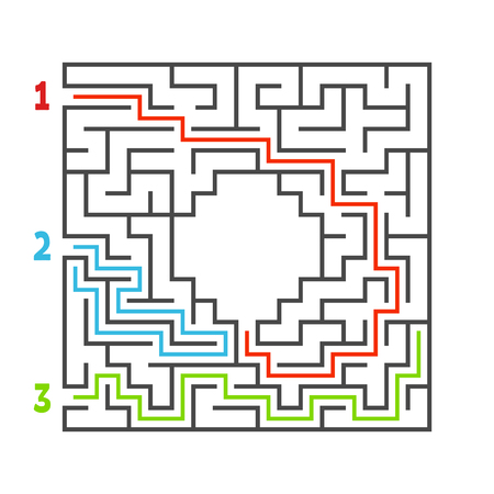 Abstract square maze. Game for kids. Puzzle for children. Three entrance, one exit. Labyrinth conundrum. Flat vector illustration isolated on white background. With answer. With place for your image