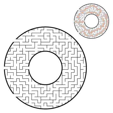 Black round maze. With three ways. Game for kids. Puzzle for children. Labyrinth conundrum. Flat vector illustration isolated on white background. With place for your image. With the answer Illustration