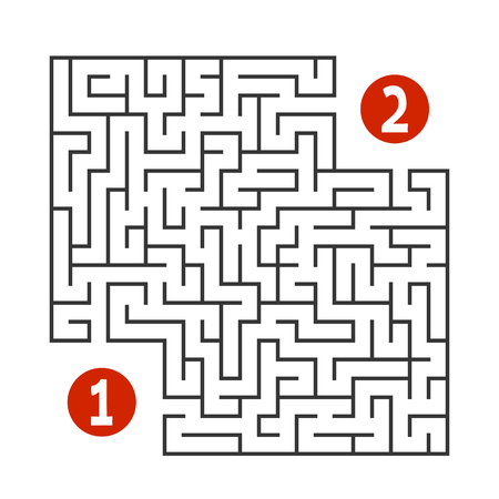 Abstract square maze. Find the way from one to two digits. Game for kids. Puzzle for children. Labyrinth conundrum. Flat vector illustration isolated on white background