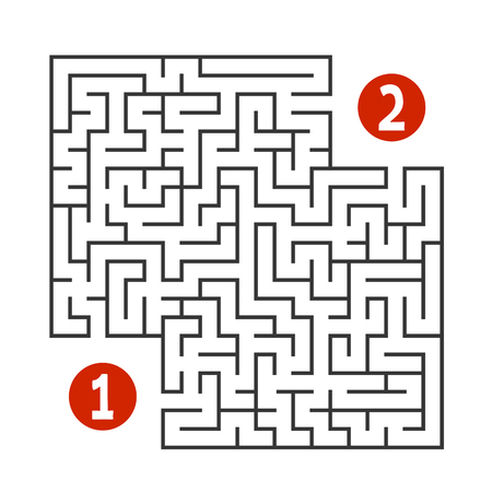 Abstract square maze. Find the way from one to two digits. Game for kids. Puzzle for children. Labyrinth conundrum. Flat vector illustration isolated on white background Vektorové ilustrace