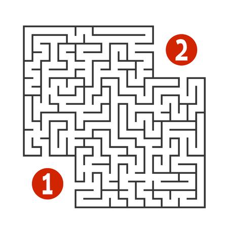 Abstraktes quadratisches Labyrinth. Finden Sie den Weg ein- bis zweistellig. Spiel für Kinder. Puzzle für Kinder. Rätsel des Labyrinths. Flache Vektorillustration lokalisiert auf weißem Hintergrund Vektorgrafik