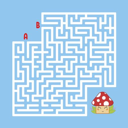 Laberinto cuadrado abstracto. Encuentra el camino correcto hacia el lindo hongo. Juego para niños. Puzzle para niños. Enigma del laberinto. Ilustración de vector plano aislado sobre fondo de color