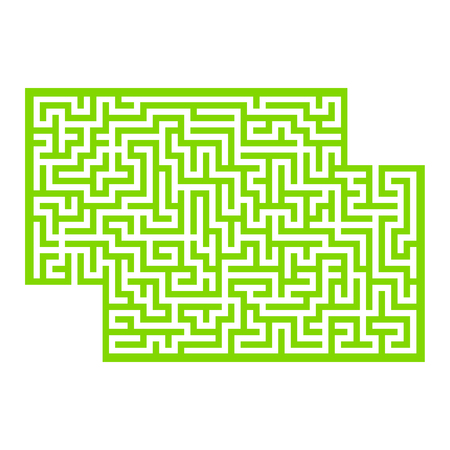 Abstract rectangular maze. Game for kids. Puzzle for children. One entrance, one exit. Labyrinth conundrum. Flat vector illustration isolated on white background. With place for your image