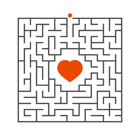 Abstract square maze. Game for kids. Puzzle for children. One entrance, one exit. Labyrinth conundrum. Flat vector illustration isolated on white background. Concept of love Vettoriali