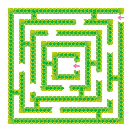 A simple green maze of leaves. Game for kids. Puzzle for children. One entrance, one exit. Labyrinth conundrum. Flat vector illustration isolated on white background
