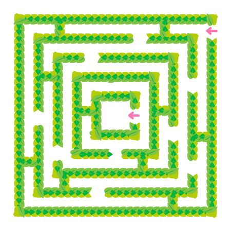 Ein einfaches grünes Labyrinth aus Blättern. Spiel für Kinder. Puzzle für Kinder. Ein Eingang, ein Ausgang. Rätsel des Labyrinths. Flache Vektorillustration lokalisiert auf weißem Hintergrund