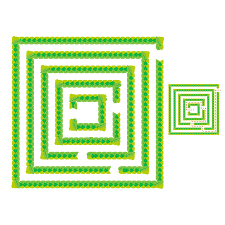 A simple green maze of leaves. Game for kids. Puzzle for children. One entrance, one exit. Labyrinth conundrum. Flat vector illustration isolated on white background. With answer