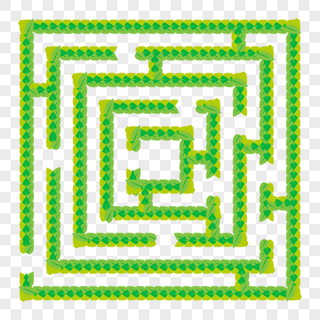 A simple green maze of leaves. Game for kids. Puzzle for children. One entrance, one exit. Labyrinth conundrum. Flat vector illustration isolated on transparent background Vettoriali
