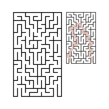 Abstraktes rechteckiges Labyrinth. Spiel für Kinder. Rätsel für Kinder. Ein Eingang, ein Ausgang. Rätsel des Labyrinths. Flache Vektorillustration lokalisiert auf weißem Hintergrund. Vektorgrafik