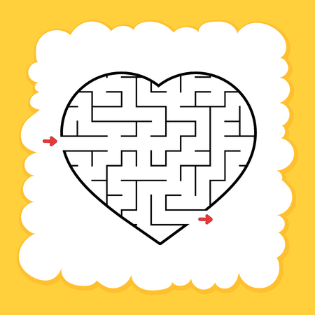 Abstract maze heart. Valentine Day. Game for kids. Puzzle for children. One entrance, one exit. Labyrinth conundrum. Flat vector illustration isolated on white background. Cartoon style. Ilustração