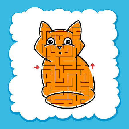 Maze cute kitty. Game for kids. Puzzle for children. Cartoon style. Labyrinth conundrum. Color vector illustration