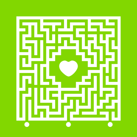 Abstract white square maze. Find the right path to the heart. Labyrinth conundrum. Love search concept. Flat vector illustration isolated on color background