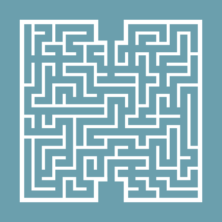 Abstract square maze. Game for kids. Puzzle for children. Find the right path. Labyrinth conundrum. Flat vector illustration isolated on color background  イラスト・ベクター素材