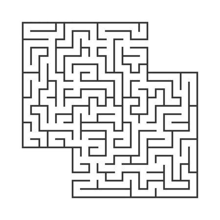 Abstract square maze. Game for kids. Puzzle for children.Labyrinth conundrum. Flat vector illustration isolated on white background. With place for your image  イラスト・ベクター素材