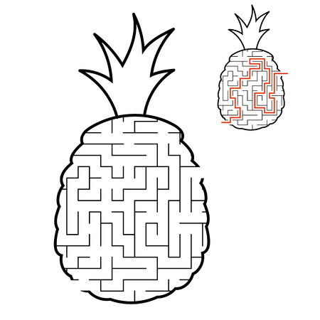 Maze pineapple. Game for kids. Puzzle for children. Cartoon style. Labyrinth conundrum. Black and white vector illustration. With answer. The development of logical and spatial thinking