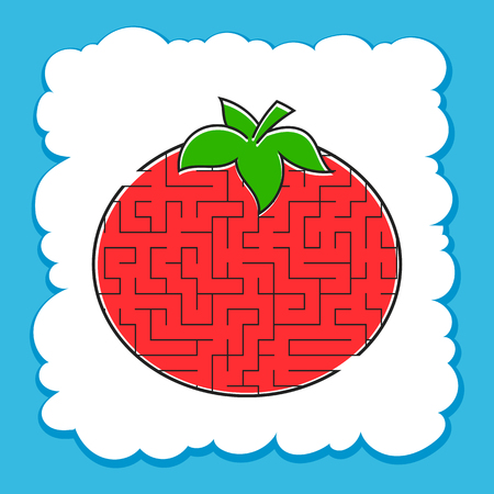 Maze Tomato. Game for kids. Puzzle for children. Cartoon style. Labyrinth conundrum. Color vector illustration. The development of logical and spatial thinking