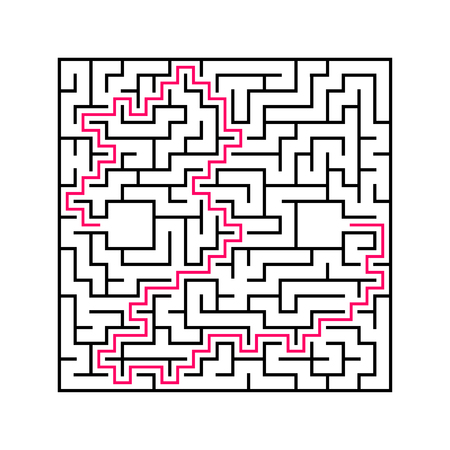 Black square maze with entrance and exit. An interesting and useful game for children. Simple flat vector illustration isolated on white background. With the answer