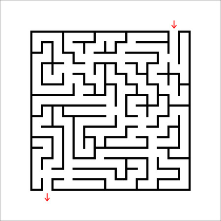 Black square maze. An interesting and useful game for kids. Children's puzzle with one entrance and one exit. Labyrinth conundrum. Simple flat vector illustration isolated on white background.  イラスト・ベクター素材
