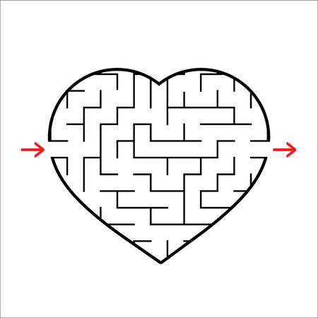 Laberinto en forma de corazón abstracto. Juego para niños. Puzzle para niños. Una entrada, una salida. Enigma del laberinto. Ilustración de vector plano simple aislado sobre fondo blanco.