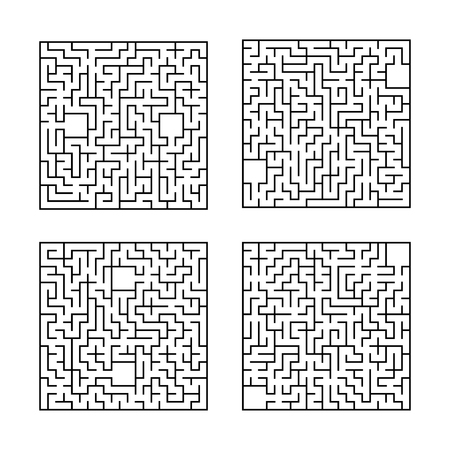 A set of square mazes. Game for kids. Puzzle for children. One entrances, one exit. Labyrinth conundrum. Flat vector illustration isolated on white background.