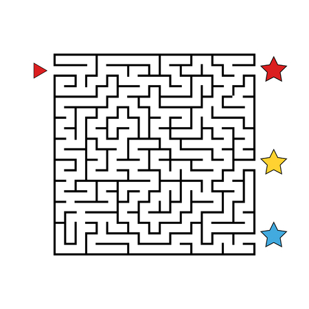 Abstract square maze. Game for kids. Puzzle for children. Find the right path. Labyrinth conundrum. Flat vector illustration isolated on white background